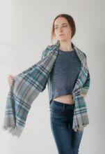 шотландский теплый плотный большой шарф  100% шерсть мериноса Инвернесс (синий) Inverness Flannel Check Blue. плотность 5