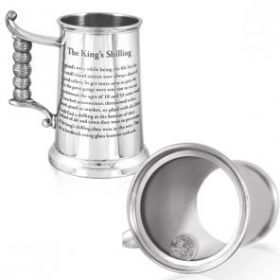 Английский серебряный Королевский Шиллинг - тяжелый танкард (пивная кружка) с серебряной  старинной английской монетой 1816 года выпуска, британский пьютер